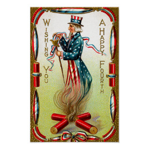 Vintage Americana July Fourth Poster