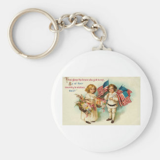 Vintage Americana Kids with Flags Basic Round Button Keychain