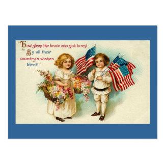 Vintage Americana Kids with Flags Postcard