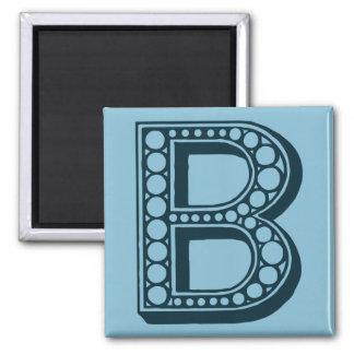 Vintage Americana, ornamental monogram B 2 Inch Square Magnet