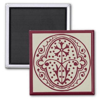 Vintage Americana, ornamental monogram O 2 Inch Square Magnet