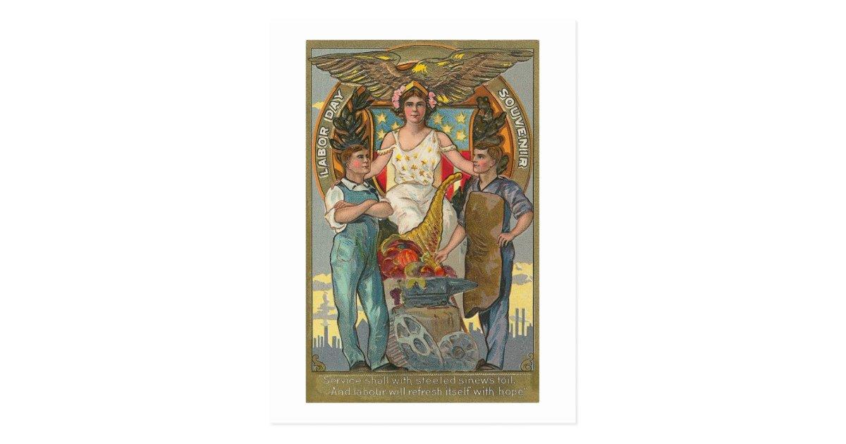 Vintage Americana Patriotic Labor Day Postcard Zazzle Com