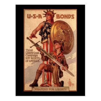 Vintage Americana USA Bonds Postcard