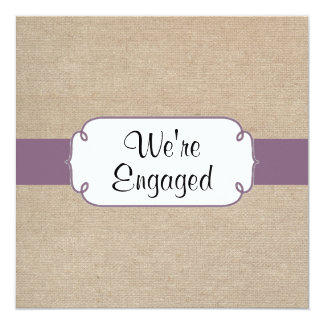 Vintage Amethyst and Beige Burlap Engagement Party Card