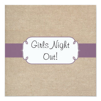 Vintage Amethyst and Beige Burlap Girls Night Out Card