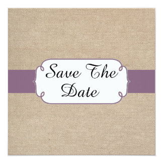 Vintage Amethyst and Beige Burlap Save The Date Card