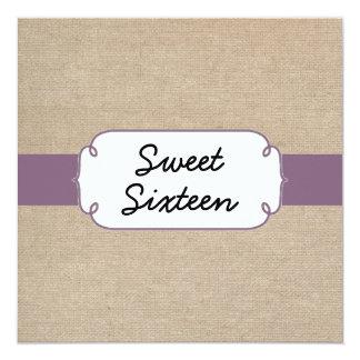 Vintage Amethyst and Beige Burlap Sweet Sixteen Card