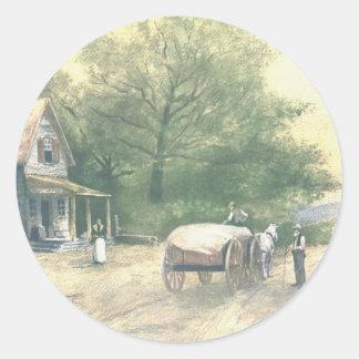Vintage Amish Farm Scene Sticker