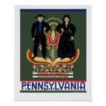 Vintage Amish Pennsylvania Travel Poster