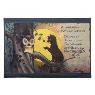 Vintage amonestador Halloween del búho del gato Mantel Individual