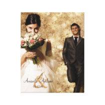 Vintage Ampersand Wedding Photo Keepsake Canvas Print