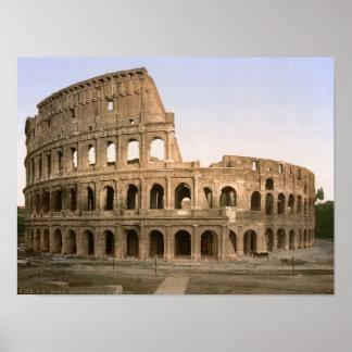 Vintage amphitheatre de Roma, Italia, Colosseum Póster