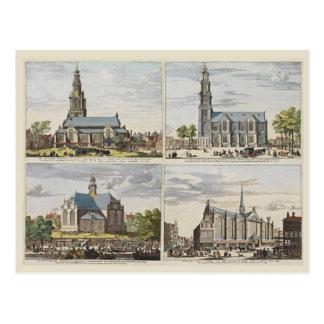 Vintage Amsterdam, Amsterdam, iglesias Tarjetas Postales