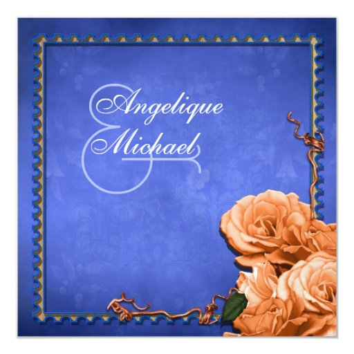 Vintage anaranjado azul del boda subió invitación 13,3 cm x 13,3cm