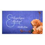 """Vintage anaranjado azul """"número del boda de la tarjetas de visita"""