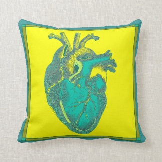 Vintage Anatomic Heart Aqua and Yellow Throw Pillows