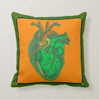 Vintage Anatomic Heart Green and Orange Throw Pillow