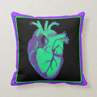 Vintage Anatomic Heart Purple and Green Throw Pillow