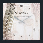 """Vintage Anatomic Spine Chiropractor Clinic Square Wall Clock<br><div class=""""desc"""">A vintage sepia-toned wall clock for your waiting room with an image of a spine and anatomical drawings in the background. Personalize by adding the name of the clinic and contact information to the back.</div>"""