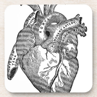 Vintage Anatomical Heart Beverage Coaster