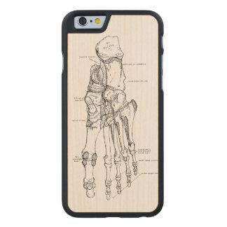 Vintage Anatomy Art Bones of the Foot Carved Maple iPhone 6 Case