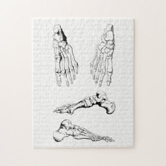 Vintage Anatomy Art Bones of the Foot Jigsaw Puzzle