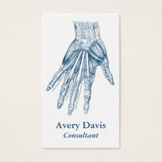 Vintage Anatomy Art Muscles of the Hand Blue Business Card