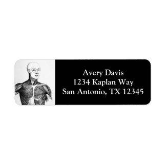 Vintage Anatomy | B/W Torso  (circa 1852) Return Address Label