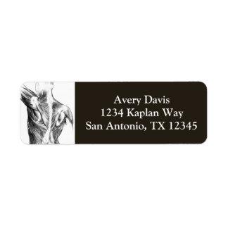 Vintage Anatomy | Back Muscles  (circa 1852) | B/W Return Address Label