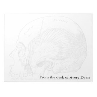 Vintage Anatomy Drawing Human Temporal Muscle Notepad