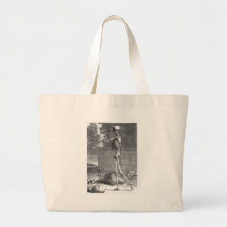 Vintage anatomy drawing, side view, skeleton jumbo tote bag