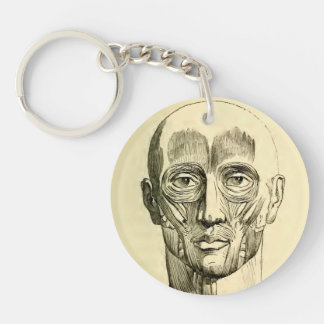 Vintage Anatomy | Muscles of the Face (circa 1852) Keychain