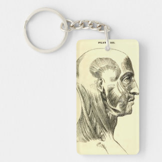 Vintage Anatomy | Muscles of the Head (circa 1852) Keychain