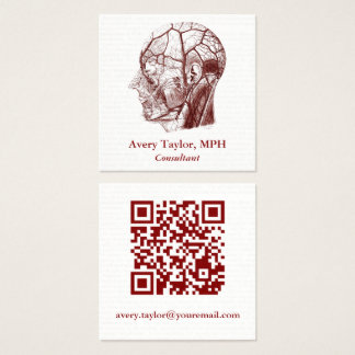 Vintage Anatomy QR Code Human Head Square Business Card