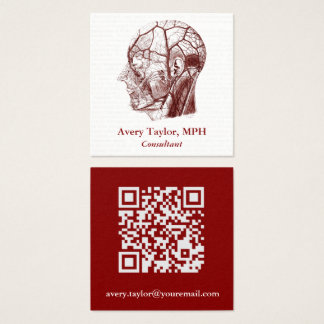 Vintage Anatomy QR Code Human Head V2 Square Business Card