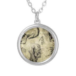 Vintage Anatomy Skull Silver Plated Necklace