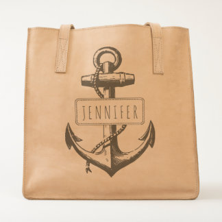 Vintage anchor and label with your name nautical tote