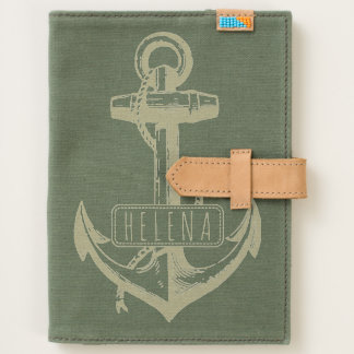Vintage anchor and name nautical handmade canvas journal