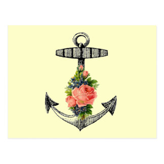 """Vintage Anchor and Roses"" Post Card"