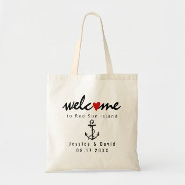 Beach Themed Vintage anchor beach destination wedding welcome tote bag