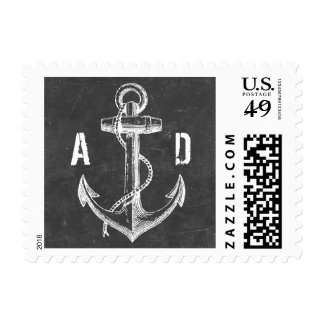 Vintage Anchor Chalkboard Nautical Wedding Stamps