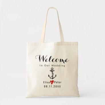 Beach Themed Vintage anchor destination wedding script welcome tote bag