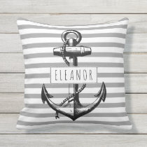 Vintage anchor grey white striped pattern nautical throw pillow