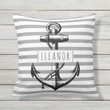 Beach Themed Vintage anchor grey white striped pattern nautical throw pillow