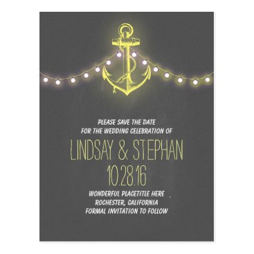 Beach Themed vintage anchor nautical save the date postcards
