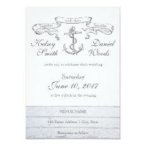 Vintage Anchor Nautical   Wedding Invitation