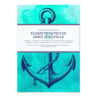Vintage Anchor Nautical Wedding Invitations