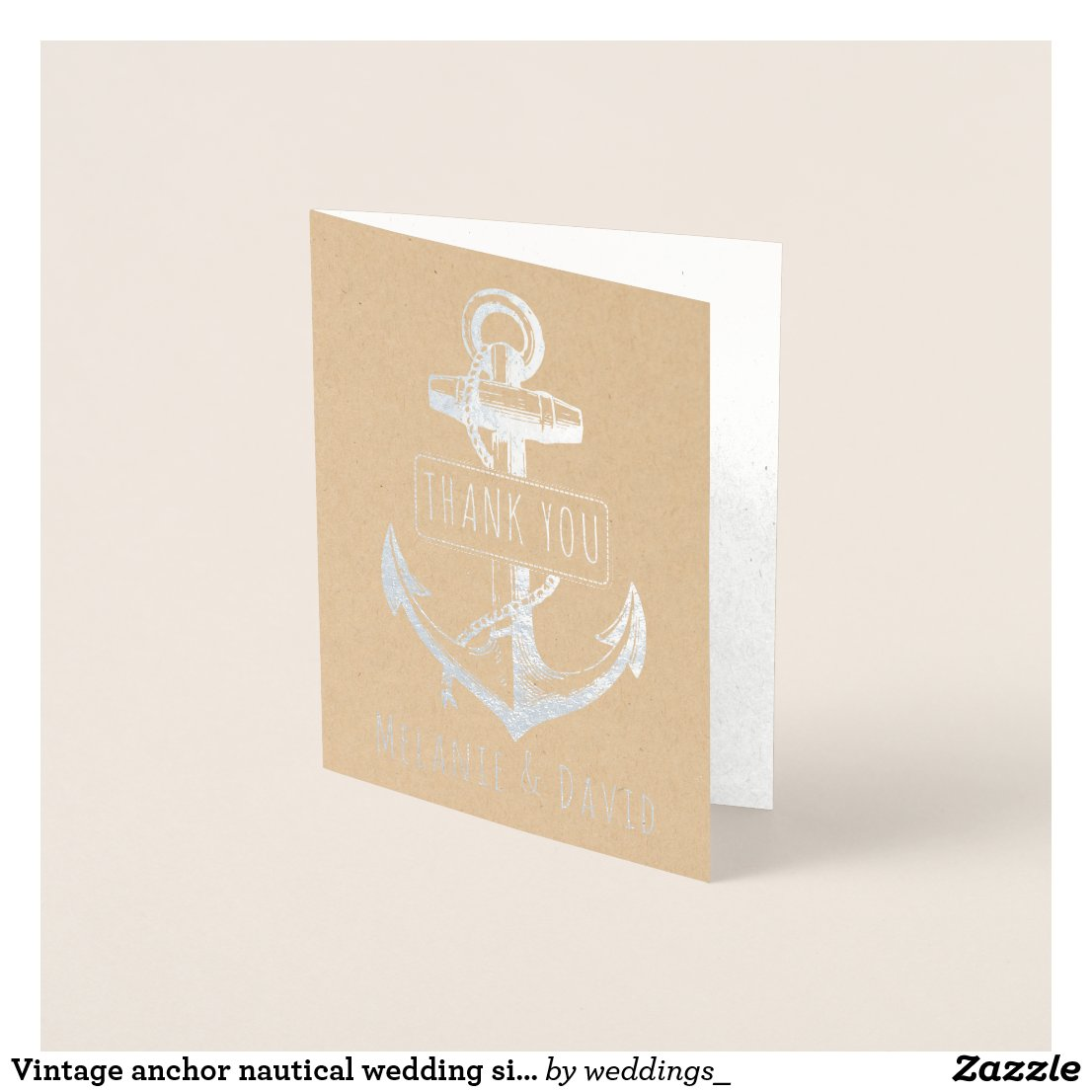 Vintage anchor nautical wedding silver foil card