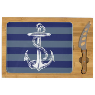 Vintage Anchor Navy Gray Blue Stripe Cheese Board Rectangular Cheeseboard