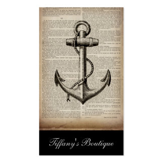 vintage anchor ocean map beach fashion nautical Double-Sided standard business cards (Pack of 100)
